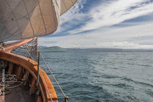 Staande foto Zeilen Sailing on the old boat towards adventures, summer time