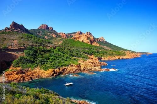 Poster Cote Esterel rocks beach coast and sea. Cannes Saint Raphael Cote Azu