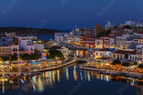Fototapety, obrazy: Agios Nikolaos City at Night, Crete, Greece