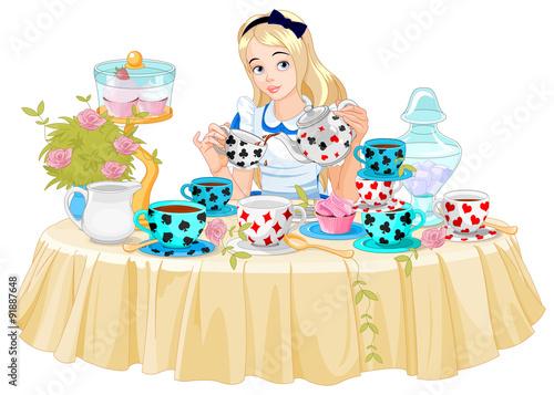 Printed kitchen splashbacks Fairytale World Alice Takes Tea Cup