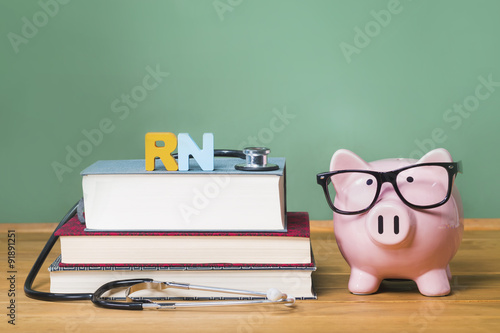 Registered Nurse RN theme with pink piggy bank with chalkboard Wallpaper Mural