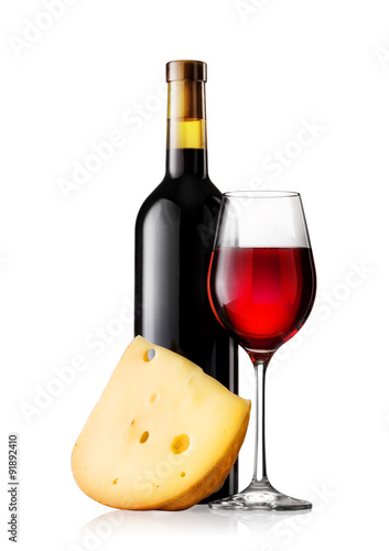 Glass and bottle of red wine with cheese Canvas Print