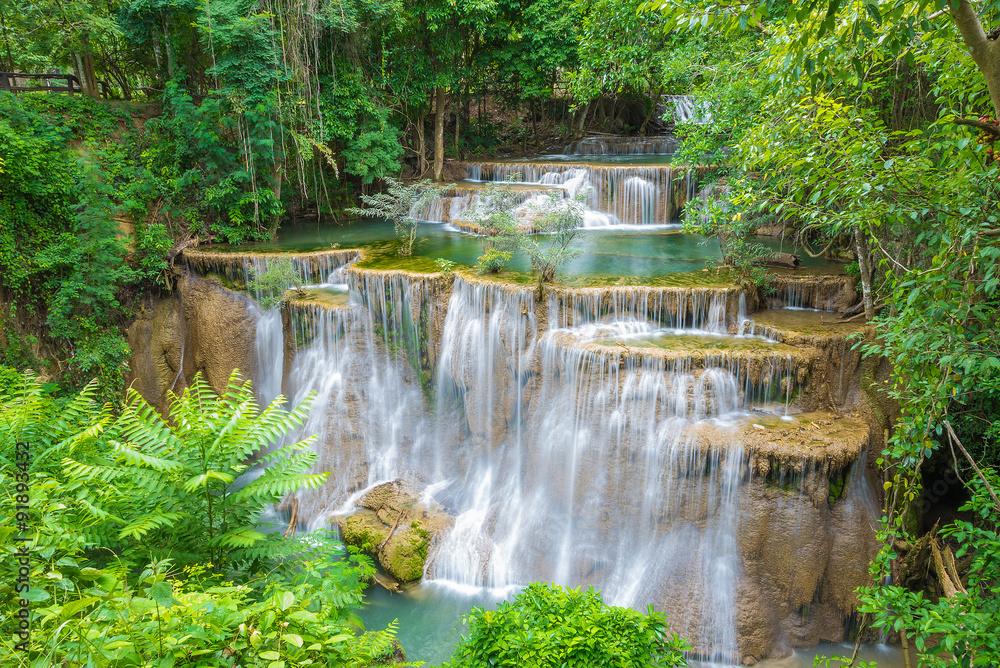 Fototapeta  Huai Mae Khamin waterfall in Kanchanaburi province, Thailand.