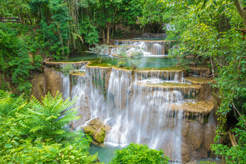 Obraz na Szkle Huai Mae Khamin waterfall in Kanchanaburi province, Thailand.