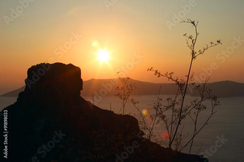 Fotobehang Zwavel geel Sunset on Santorini