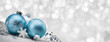 canvas print picture - Blue Christmas balls with decoration on shiny background