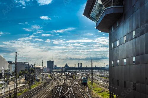Foto auf AluDibond Bahnhof München Hauptbahnhof fotografiert von der Hackerbrücke