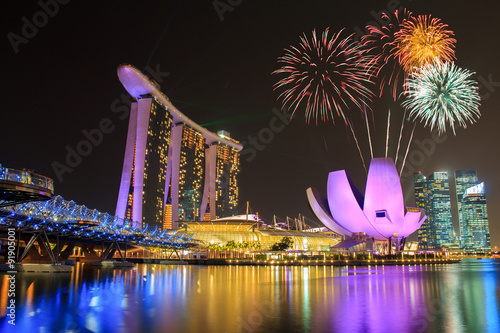 Fotobehang Singapore Fireworks over Marina bay