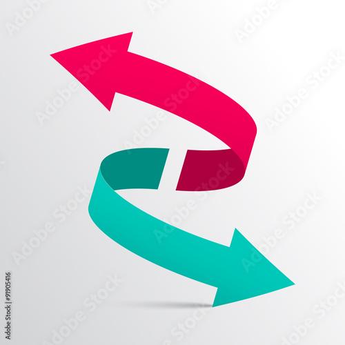 Fotografie, Obraz  Double Arrow Vector 3D Logotype Symbol