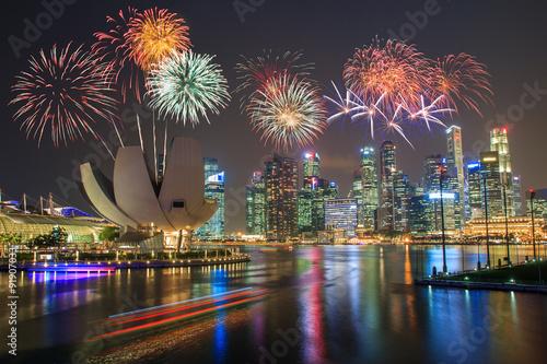 Plagát  Fireworks over Marina bay