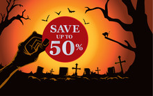 Zombie Hand Holding Red Circle Label Front The Grave In The Cemetery At Night. This Illustration Is Halloween Theme