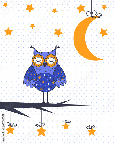 Poster Hibou A sample of an owl in a tree with the moon and stars
