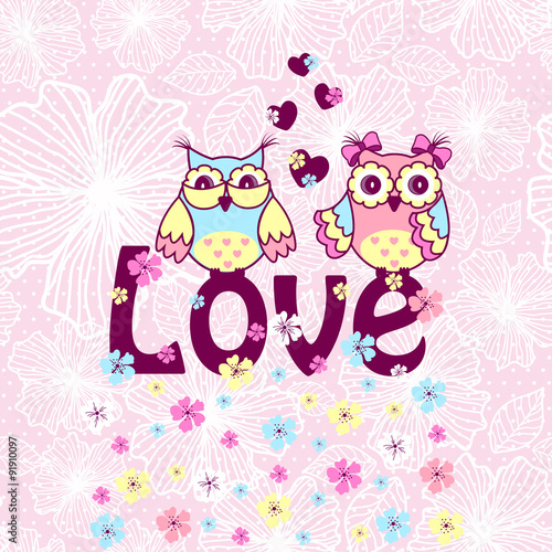 Poster Hibou Beautiful card with owls in love on branch on a pink lace background