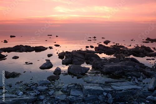 Foto op Canvas Candy roze Sundown at Rock coast, Lake Baikal, Russia