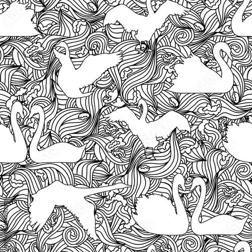 swan-silhouette-seamless-pattern