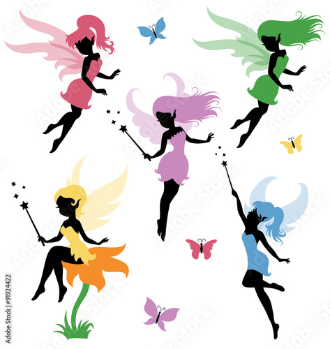 Collections of vector silhouettes of a fairy. Tablou Canvas