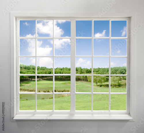 Modern residential window with lake view