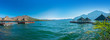 canvas print picture - panoramic view floating restaurant