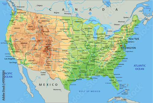High detailed United States of America physical map with ...
