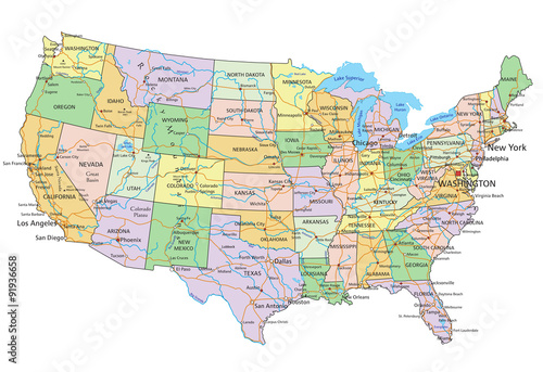 United States of America - Highly detailed editable political map with labeling Canvas Print