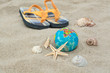 Starfish on a background of the globe in the sand