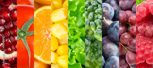 Poster Fruit Collection of different fruits, berries and vegetables