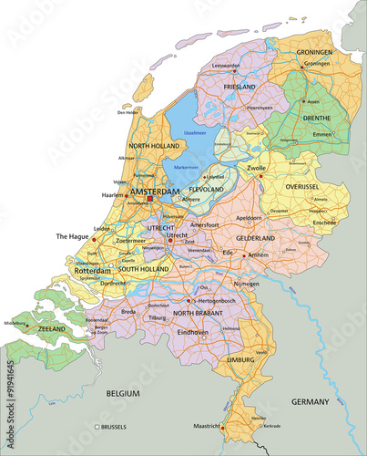 Fényképezés  Netherlands - Highly detailed editable political map with separated layers