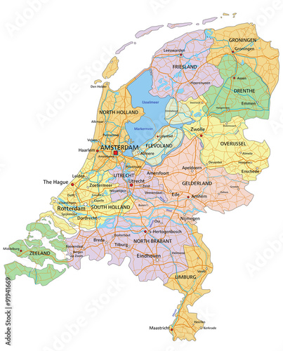 Fotografia  Netherlands - Highly detailed editable political map with separated layers