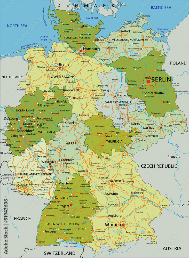 Germany - Highly detailed editable political map with ...