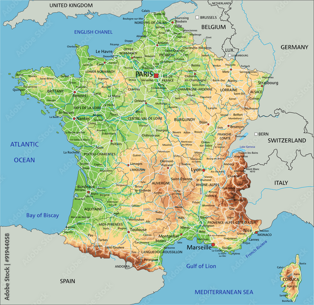 Map Of France Detailed.Fotografie Obraz High Detailed France Physical Map With