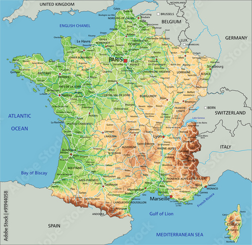High detailed France physical map with labeling. Lerretsbilde