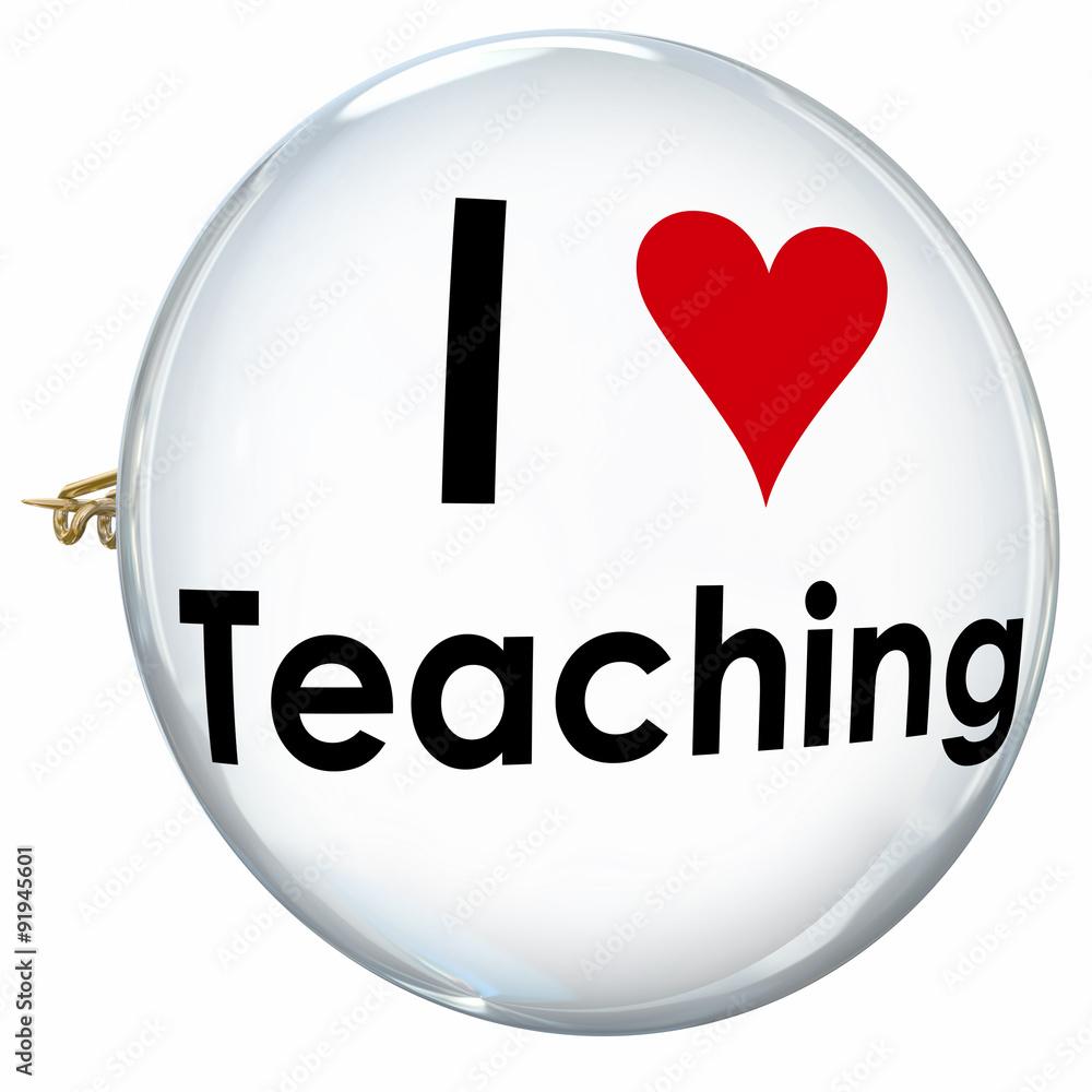 I Love Teaching Heart Button Pin Proud Teacher School Education Foto
