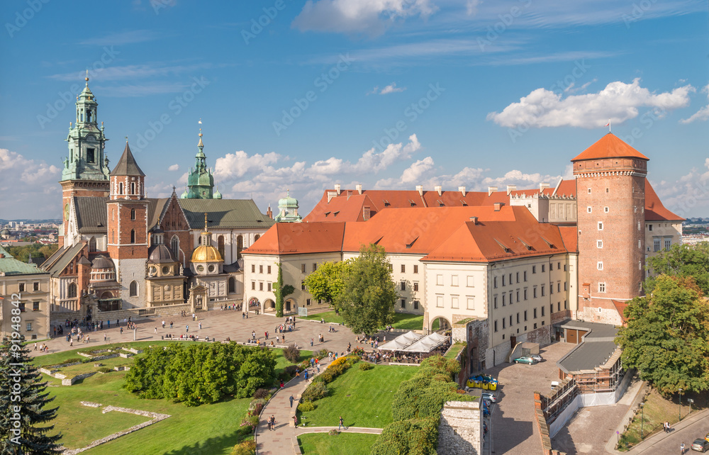 Fototapety, obrazy: Wawel Castle and Wawel cathedral seen from the Sandomierska tower on sunny afternoon