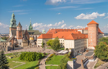 Wawel Castle And Wawel Cathedral Seen From The Sandomierska Tower On Sunny Afternoon