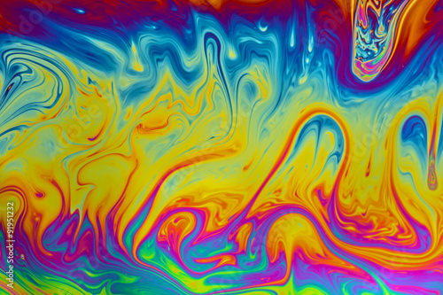 Photo  Psychedelic abstract background made from soap bubble reflecting light