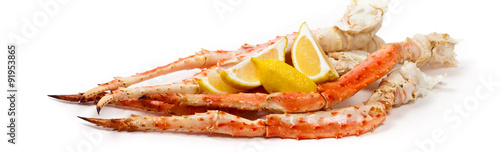 Photo  Crab Legs on white background. Selective focus.