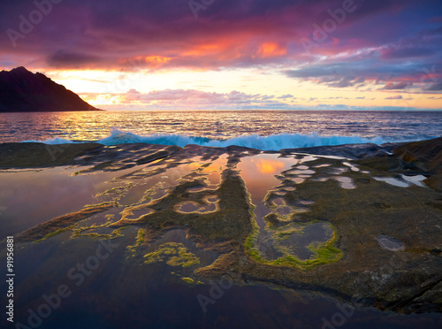 Foto op Aluminium Aubergine Sunset landscape of Northern Norway. Senja island