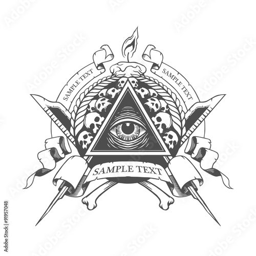 All seeing eye. Mystic occult esoteric. Fototapeta