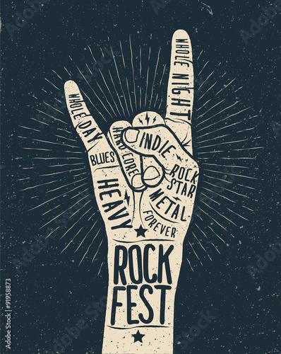 Rock festival poster, flyer. Vector hand draw styled illustration. © paul_craft