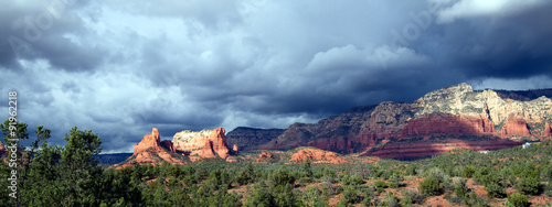 Panorama of an approaching thunderstorm at sunset, Sedona, Arizona