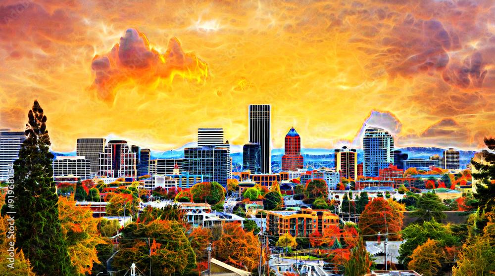 Portland Cityscape in Fall SeastonAbstract