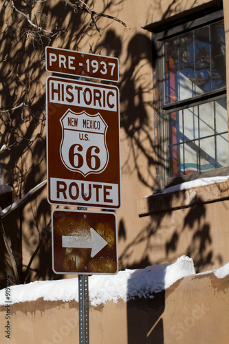 Photo  Pre-1937 Route 66 sign on Old Santa Fe Trail in downtown Santa Fe, New Mexico
