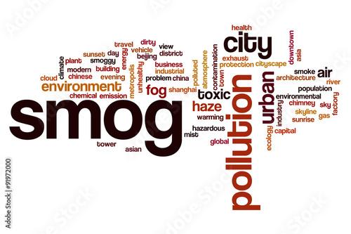 Photo  Smog word cloud concept