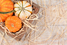 Crate With Decorative Pumpkins