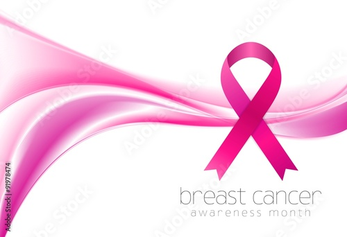 Fotografie, Obraz  Breast cancer awareness month. Smooth wave and ribbon design