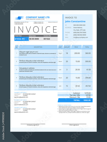 Vector Customizable Invoice Form Template Design Vector - Customizable invoice