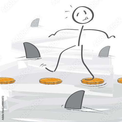 Fotografía  Balanceakt im Haifischbecken