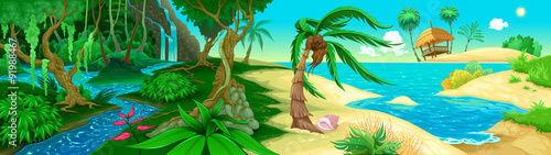 Papiers peints Chambre d enfant View on the jungle and sea