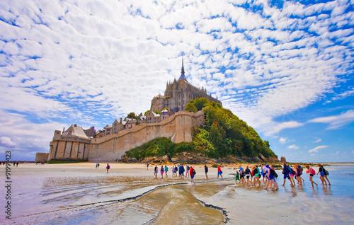 Photo  Mont saint Michel, traversée de la baie