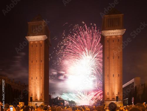 Colorful fireworks at Plaza de Espana Canvas Print